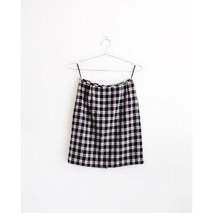 Vintage Black White Red Plaid Pencil Skirt fit S